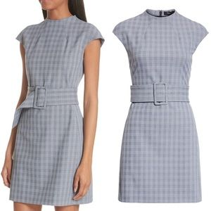 $435 NWT Theory McClair Plaid Mod Belted Dress